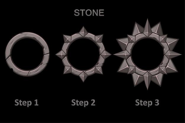 Conjunto de aplicativos de molduras de pedra com pontas em 3 etapas para progredir. molduras redondas no desenho passo a passo.