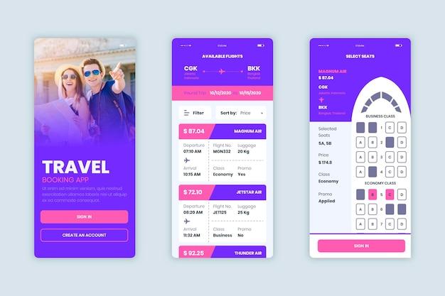 Conjunto de aplicativos de reserva de viagens