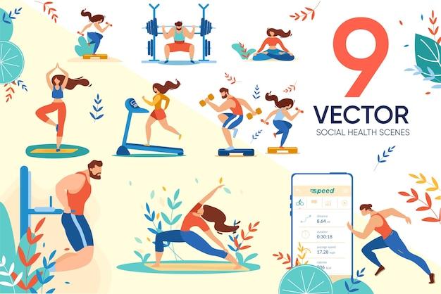Conjunto de aplicativos de usuários de pessoas e sociais de saúde