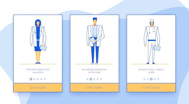 Conjunto de aplicativos móveis de bate-papo de internet médico on-line