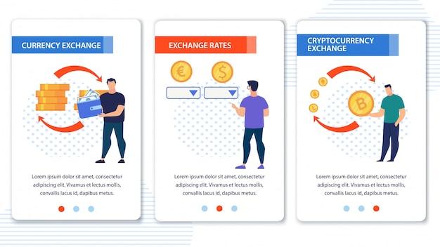 Conjunto de aplicativos móveis do exchange de criptomoeda da moeda
