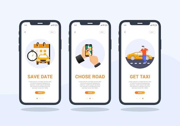 Conjunto de app de táxi de design de interface do usuário de tela onboarding móvel