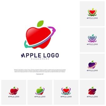 Conjunto de apple swoosh vetor de conceito de design de logotipo
