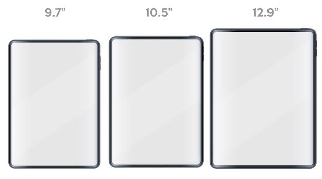 Conjunto de apresentação de layout do tablet pc