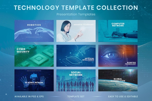 Conjunto de apresentação futurista de vetor de modelo de inovação em tecnologia empresarial
