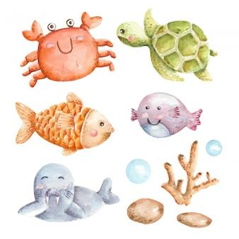 Conjunto de aquarela animal subaquático