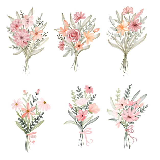 Conjunto de aquarela bouquet floral