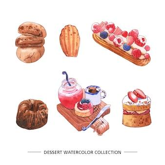 Conjunto de aquarela chocolate, bolo, ilustração de suco