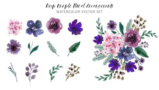 Conjunto de aquarela com arranjos florais roxos profundos