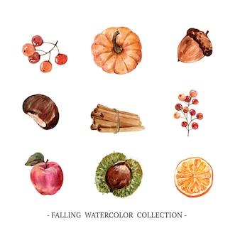 Conjunto de aquarela criativa outono