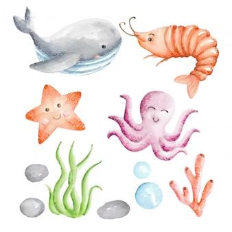 Conjunto de aquarela de animais do mar