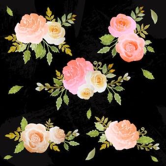 Conjunto de aquarela de arranjo floral