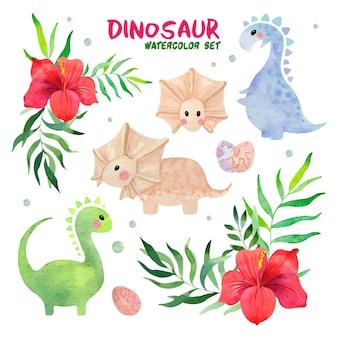 Conjunto de aquarela de dinossauro