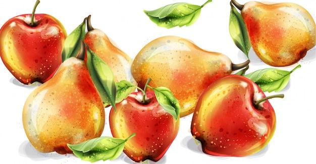 Conjunto de aquarela de maçã, pêra e pêssego