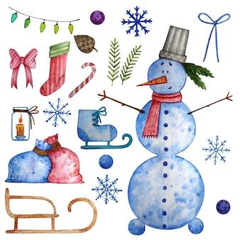 Conjunto de aquarela de natal com elementos de inverno.