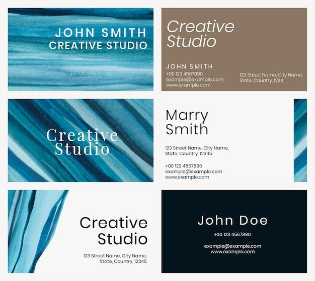 Conjunto de aquarela de ombre de vetor de modelo de cartão de visita para artistas criativos