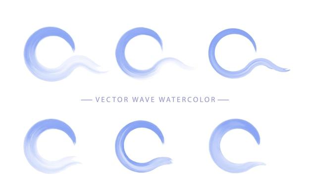 Conjunto de aquarela de onda