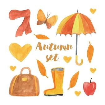 Conjunto de aquarela de outono fofo com guarda-chuva, lenço, borboleta, coração, bolsa, botas de maçã, folhas