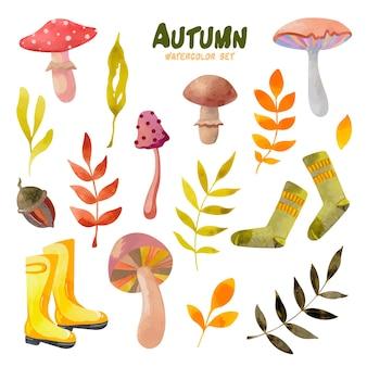 Conjunto de aquarela de outono