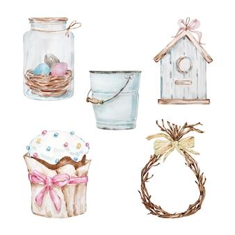 Conjunto de aquarela de páscoa, bolo de páscoa em uma embalagem de papel bege, frasco com ovos e outros elementos fofos. feriado ortodoxo