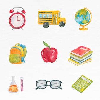 Conjunto de aquarela de vetor de objeto educação gráfico educacional