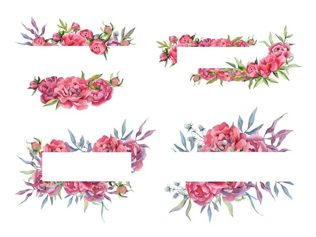Conjunto de aquarela desenhado à mão com molduras e bordas de peônia buquês de flores e arranjos