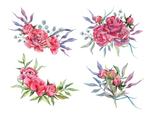 Conjunto de aquarela desenhado à mão de buquês de peônia arranjos de flores