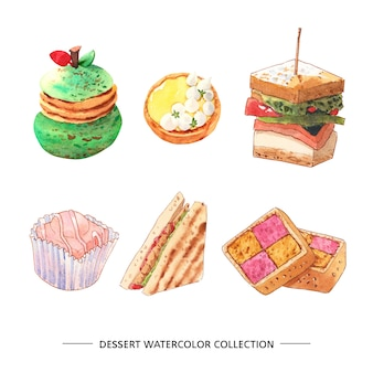 Conjunto de aquarela e ilustração de sobremesa desenhada mão