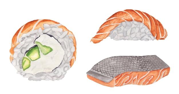 Conjunto de aquarela filadélfia com sushi de salmão