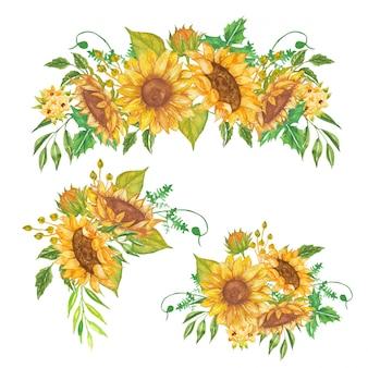 Conjunto de aquarela floral amarelo girassol arranjo