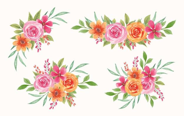 Conjunto de aquarela floral com flores coloridas