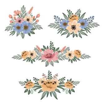 Conjunto de aquarela floral de flores amarelas rosa e azuis