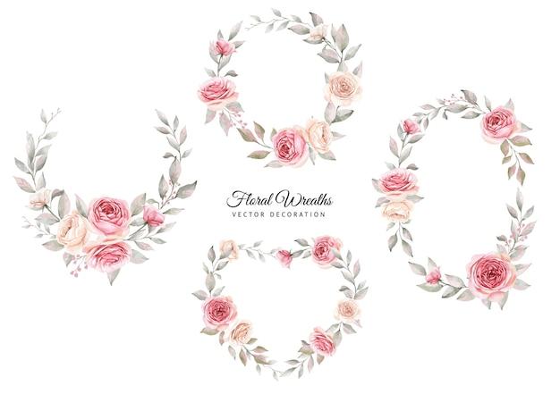 Conjunto de aquarela floral de rosas e folhas