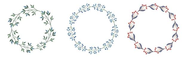 Conjunto de aquarela floral grinalda
