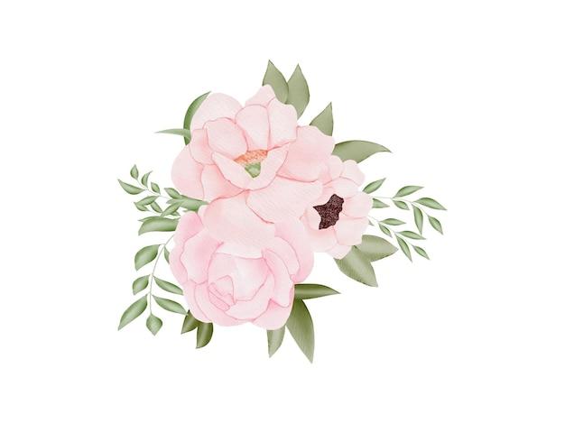 Conjunto de aquarela floral para cartão de casamento