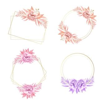 Conjunto de aquarela floral para logotipo de casamento
