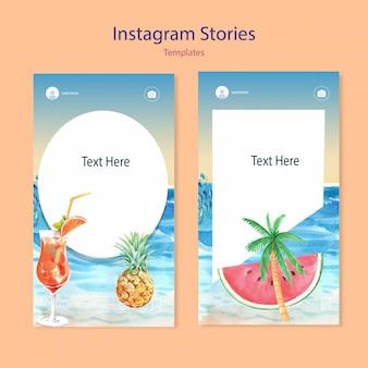 Conjunto de aquarela instagram templates
