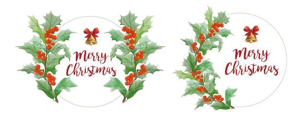 Conjunto de aquarela moldura de natal com folha e sino