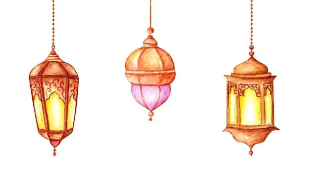 Conjunto de aquarela pendurada lanterna árabe Vetor Premium