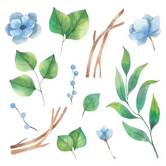 Conjunto de aquarela primavera de elementos florais de folhas verdes e flores de anêmona azul.
