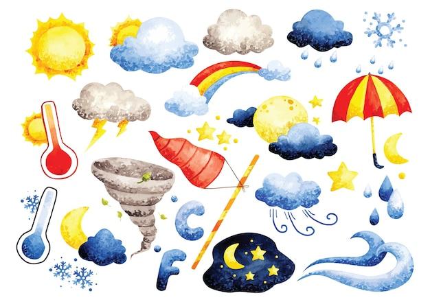 Conjunto de aquarela rabiscos de clima