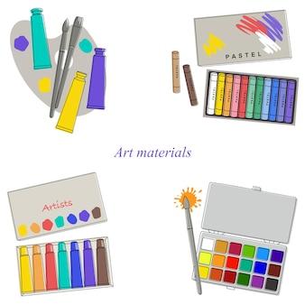 Conjunto de aquarelas de materiais de arte