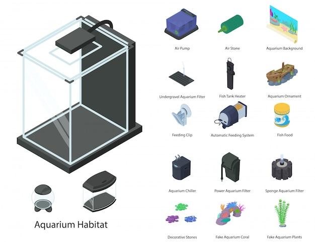 Conjunto de aquário, estilo isométrico