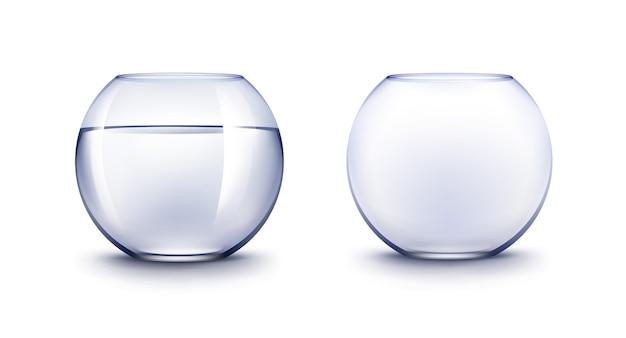 Conjunto de aquários realistas de aquários de aquários de vidro brilhante transparente azul transparente sem peixes