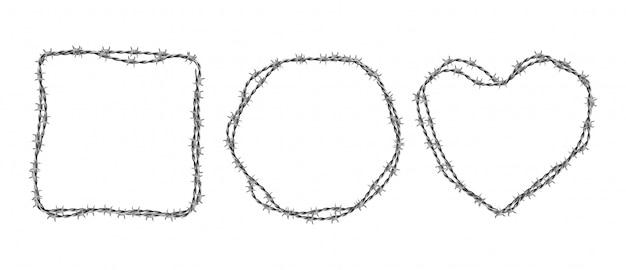 Conjunto de arame farpado de aço. molduras em forma de círculo, quadrado e coração de arame trançado com farpas isoladas em branco