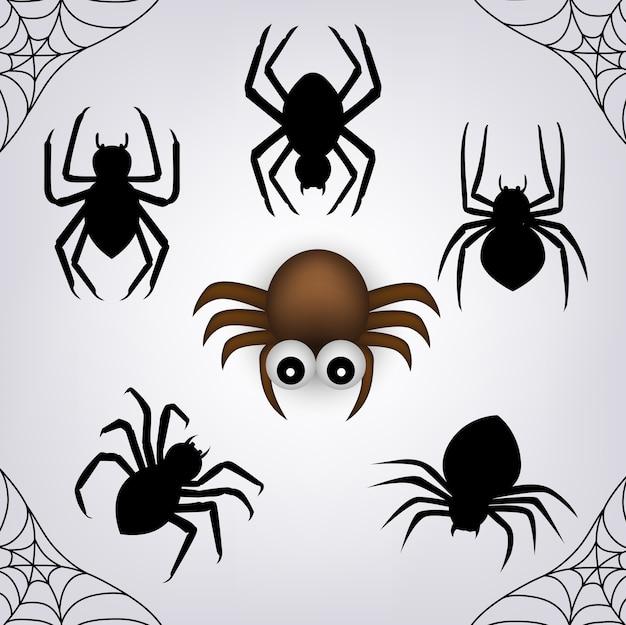 Conjunto de aranha para o dia do objeto de halloween