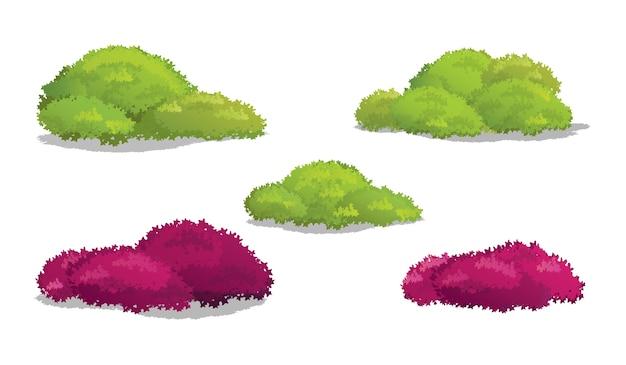 Conjunto de arbustos e arbustos com várias ilustrações vetoriais em forma