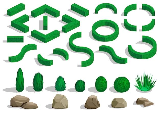 Conjunto de arbustos e árvores