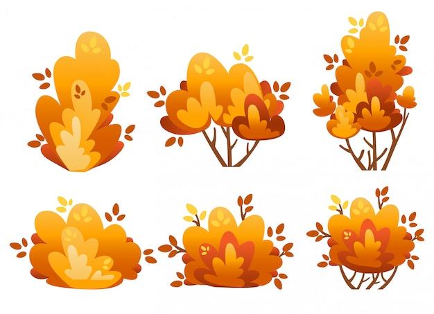 Conjunto de arbustos naturais e árvores de jardim para ilustração de casa de campo e quintal na página do site com fundo branco e aplicativo móvel