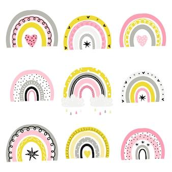 Conjunto de arco-íris bonitos